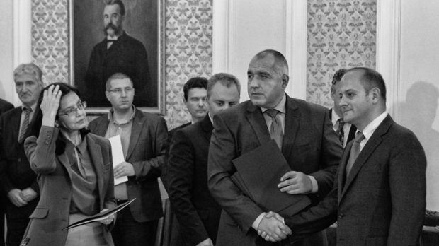 PM Boyko Borissov (in the center) doesn't speak to Radan Kanev (on the right), one of the RB leaders. The other key figure in RB - Meglena Kuneva (on the left), grudgingly stays in the government Photo by Julia Lazarova