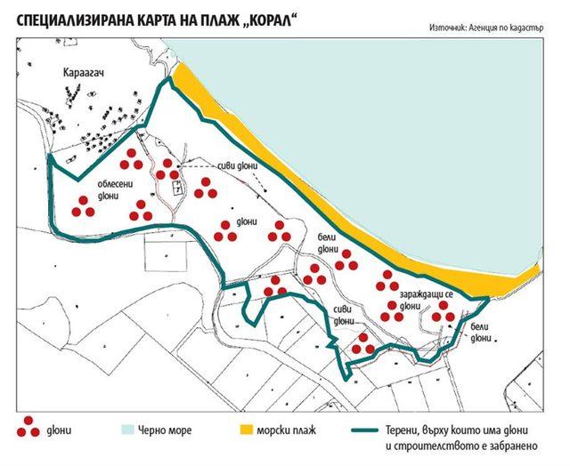 """Специализирана карта на плаж """"Корал"""". Дюните попадат върху части от 12 бр. частни поземлени имоти. Общата площ на частните имоти е 150 дка. Върху 78 дка (52%) от тях са разположени дюни, които трябва да се върнат във владение на държавата."""