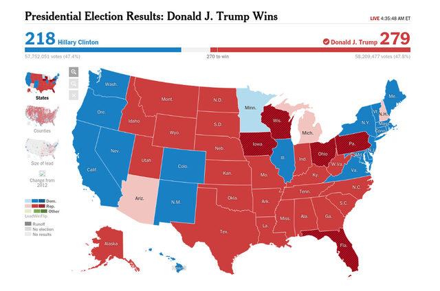 """Kак гласуваха отделните щати може да проследите в<a href=""""http://www.nytimes.com/elections/results/president"""" target=""""_blank""""> интерактивната графика на The New York Times</a>"""