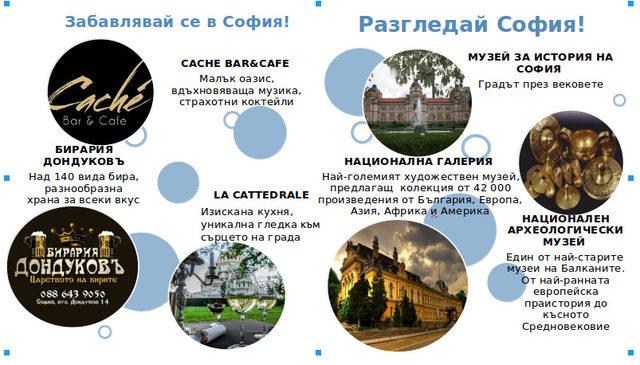 Част от обектите, в които притежателите на Sofia Pass имат отстъпка
