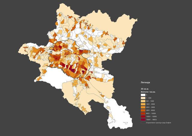Гъстота на т.нар. поемен капацитет на нови жители по квартали в Столична община при 30 кв. м жилищна площ на човек
