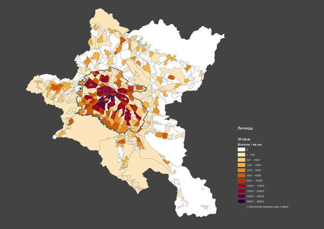 Гъстота на жители по квартали в София в момента