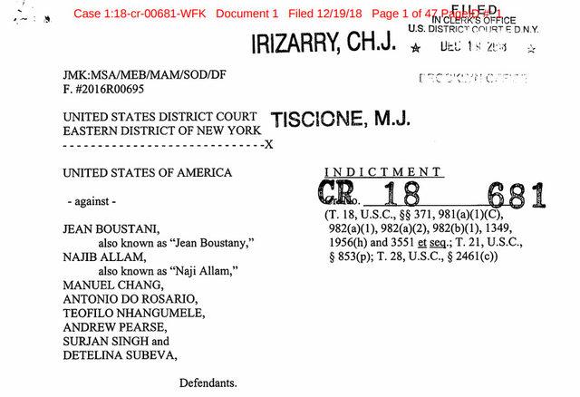Факсимиле от обвинителния акт, по който в нюйоркски съд започна дело срещу участниците в схемата