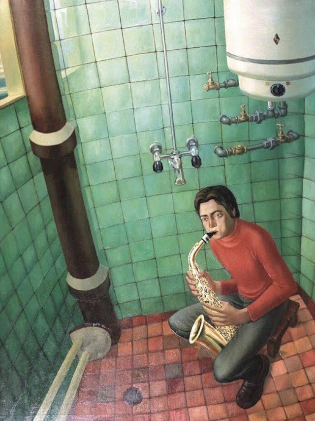 """""""Саксофонист в банята"""" на Сашо Стоицов, 1973"""