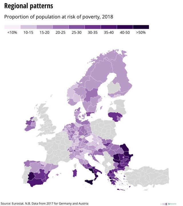 Рискът от бедност в Европа намалява