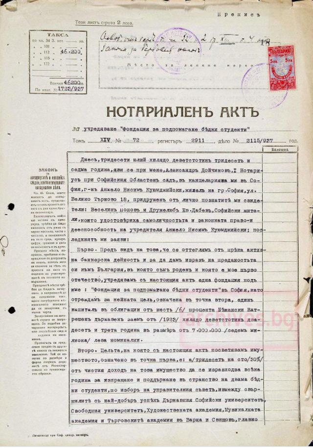 Първа страница от нотариален акт за учредяване на Фондация за подпомагане на бедни студенти с посочени цели и задачи, подписан от учредителя Анжело Нисим Куюмджийски.