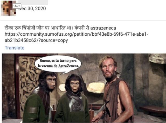 """Вариация на меме от """"Планетата на маймуните"""" на испански. На кадъра пише: """"Добре, твой ред е за ваксината на AstraZeneca"""""""