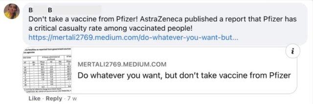 Скрийншот на коментар от фалшив профил във фейсбук, който споделя линк към една от първоначално създадените публикации, дискредитиращи ваксината на Pfizer