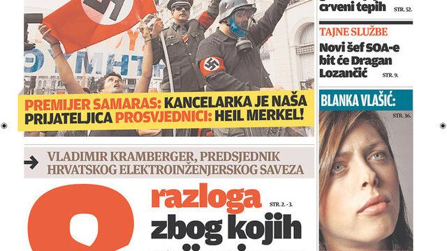 """Vecernji list (Хърватска): """"Самарас: канцлерът е наш приятел. Протестиращи: Хайл Меркел!"""""""