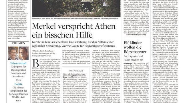 """Die Welt (Германия): """"Меркел обещава на Атина малко помощ"""""""