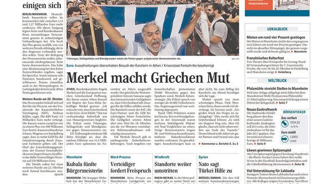 "Mannheimer Morgen: ""Меркел окуражава гърците"""