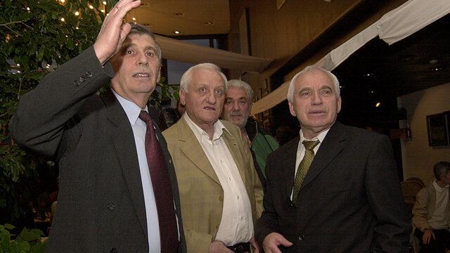 Ивайло Трифонов и Желю Желев на среща на дисиденти; 2004 година