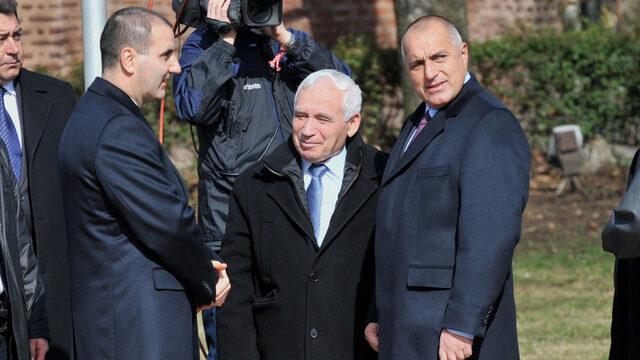 Цветан Цветанов, Желю Желев и Бойко Борисов; 3-ти март2010 година