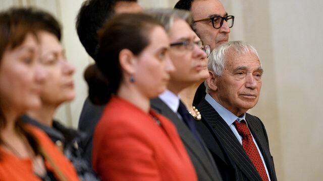 Желю Желев на церемония в президентството; 2014 година