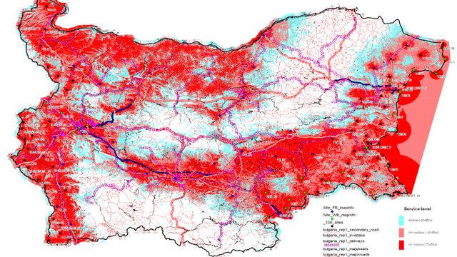 Така е изглеждало поркитието на TETRA мрежата на МВР преди няколко години. Днес голяма част от границата с Гърция е покрита. Това е единствената публичнодостъпна карта на покритието.