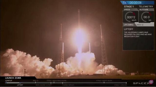 """SpaceX стартира новата година със загадъчна мисия, с която изведе в ниска орбита – под 1200 км над повърхността, правителствен космически апарат, наречен Зума. Ракетата-носител SpaceX Falcon 9 излятя късно в неделя от станция Cape Canaveral във Флорида, а изстрелването бе предавано пряко от компанията. Точната дестинация на Зума, не бе разкрита, а SpaceX и Пентагонът не отговориха на журналистическите въпроси за естеството на мисията. Космическият апарат е построен за американското правителство и не е необичайно правителството да не споделя информация за """"чувствителни полезни товари"""", обикновено заради причини като национална сигурност, отбрана или наблюдение. Това е първото изстрелване за SpaceX през 2018 г. след рекордните 18 през 2017 г."""