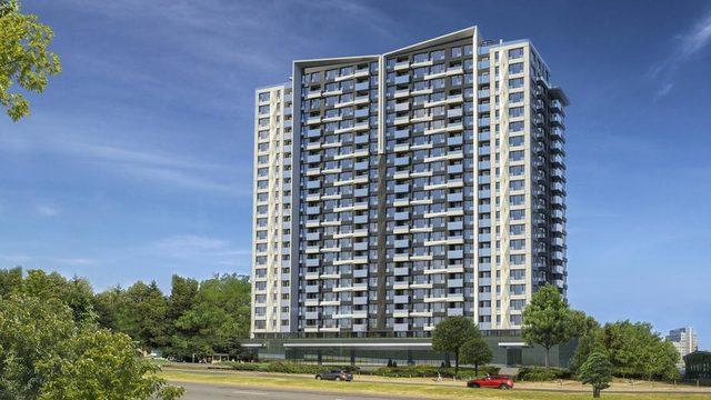 """Големият жилищен блок на """"Артекс"""" ще се намира непосредствено до метростанцията и по план 75-метровата сграда ще изглежда така. Проектът обаче все още чака разрешение за строеж."""