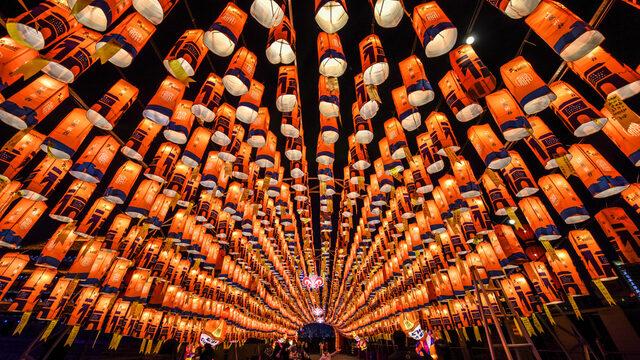 Посетители ходят в тунел от хартиени фенери по време на шоу, част от тържествата за настъпващата китайска Нова година според лунния календар