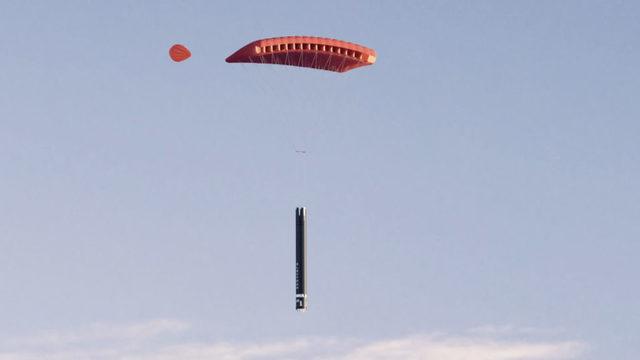 Първото експериментално обратно навлизане на Electron в атмосферата не предвиждаше използване на спирачен парашут.