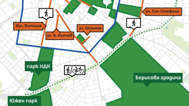 """Пешеходните улици биха допълвали инициативата """"Европейска седмица на мобилността"""", която освобождава от коли централно градско каре (в синьо)"""