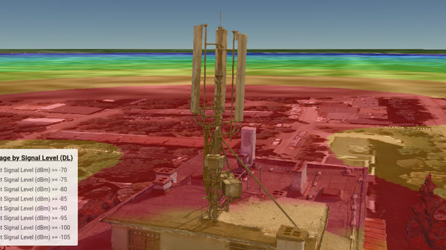 Дигитален двойник на телекомуникационна клетка, който показва разпръскването на сигнала